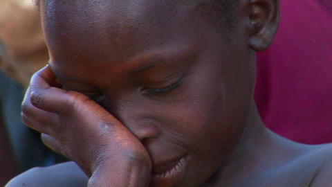 Close-up shot of a beautiful young child in Uganda, Africa Footage