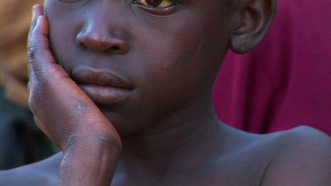 Close-up shot of a beautiful young child in Uganda, Africa Stock Video Footage