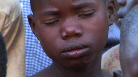 Panning-shot of orphan children in Uganda, Africa Footage