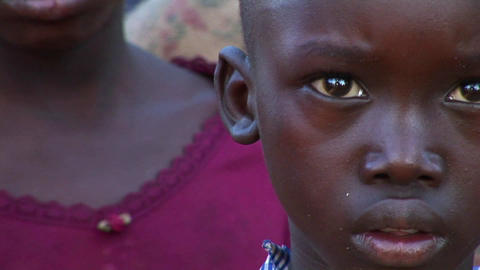 Panning-shot of orphan children in Uganda, Africa Stock Video Footage