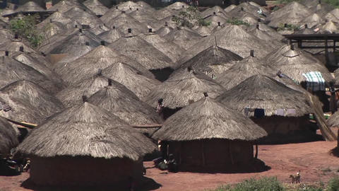 Pan-up shot of a Ugandan village in Africa with thatched... Stock Video Footage