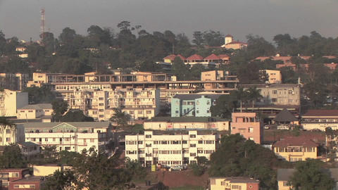 Buildings stand in the skyline of Kampala, Uganda Stock Video Footage