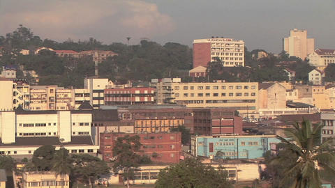 Buildings stand in the skyline of Kampala, Uganda Footage
