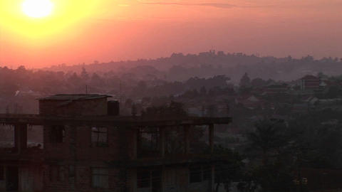 Smog covers the skyline of Kampala, Uganda Stock Video Footage