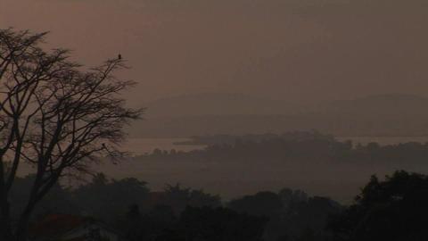 Medium-shot of the dusk, low over Lake Victoria, Uganda Stock Video Footage