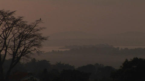 Medium-shot of the dusk, low over Lake Victoria, Uganda Stock Video Footage