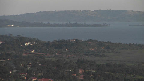 Pan-right across Lake Victoria, Uganda Stock Video Footage