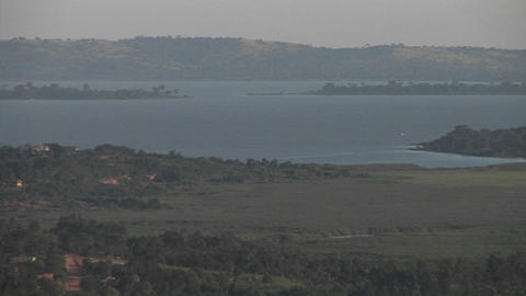 Pan-right across Lake Victoria, Uganda Footage