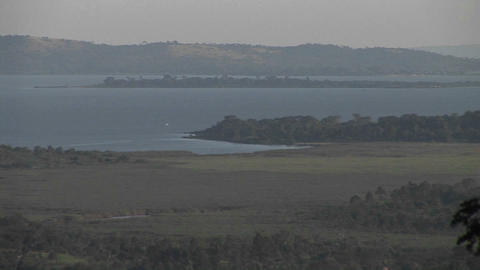 Pan-right across Lake Victoria, Uganda Stock Video Footage