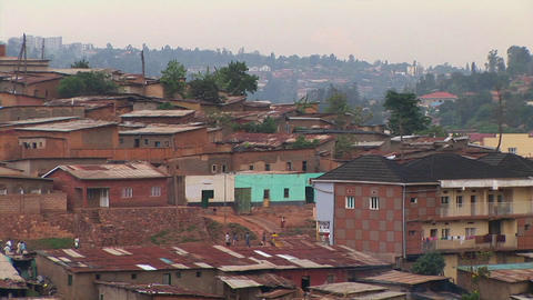 Medium shot of houses, apartments and other buildings in Kigali, Rwanda Footage