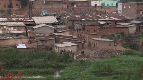 Zoom-out from a residential neighborhood in Kigali, Rwanda Footage