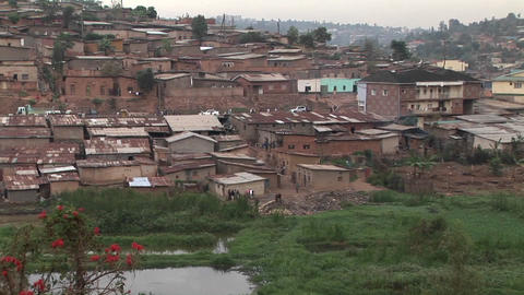 Zoom-out from a residential neighborhood in Kigali, Rwanda Stock Video Footage