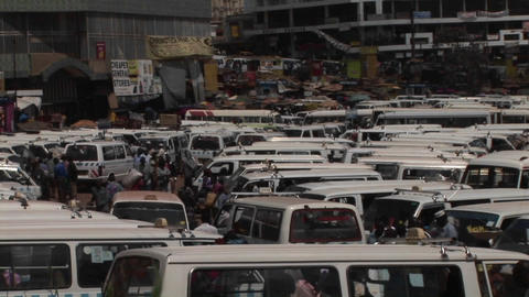 Medium shot time lapse of minibus passengers busily... Stock Video Footage