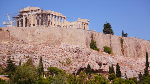 The Acropolis and Parthenon on the hilltop in Athe Footage