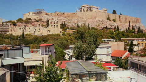 Wide establishing shot of Athens, Greece to reveal Stock Video Footage