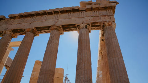 Low angle of the columns of the Acropolis and Part Stock Video Footage