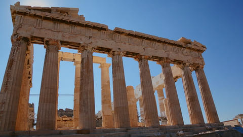 Low angle shot of the columns of the Acropolis and Footage
