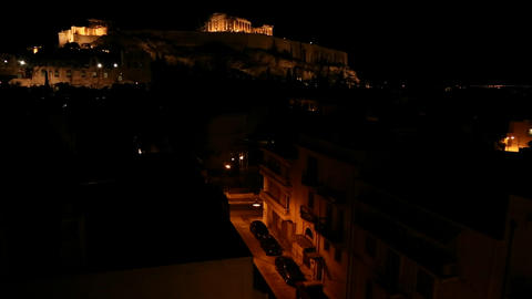 Night shot of the Acropolis and Parthenon on the h Stock Video Footage