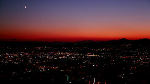 A night sunset shot over a busy city metropolis Stock Video Footage