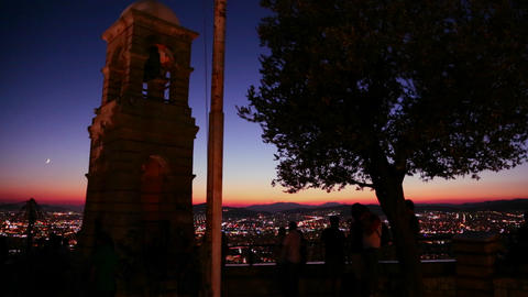 A night sunset shot over a busy city metropolis wi Stock Video Footage