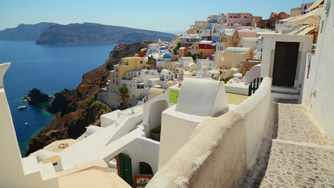 Pan across the village of Oia on the Greek Island Stock Video Footage