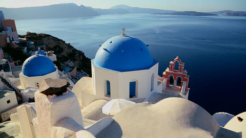 Pan across Greek Orthodox church on the Greek isla Live Action