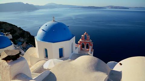 Pan across Greek Orthodox church on the Greek isla Stock Video Footage