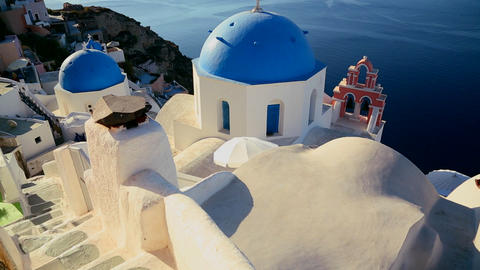 Tilt up to a Greek Orthodox church on the Greek is Stock Video Footage