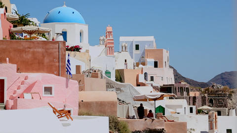 Colorful houses line the hillsides of the Greek Is Stock Video Footage