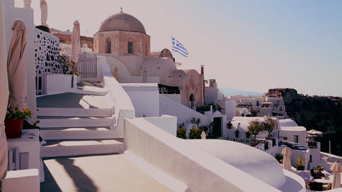 White houses line the hillsides of the Greek Islan Footage
