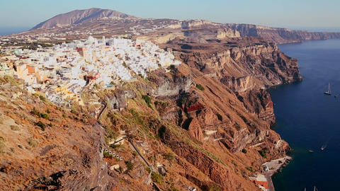 Houses line the hillsides of the Greek Island of S Stock Video Footage
