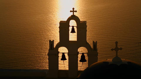 A beautiful sunset behind a Greek Orthodox Church  Live Action