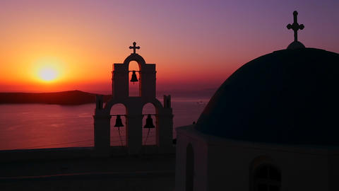 An amazing and beautiful sunset behind a Greek Ort Footage