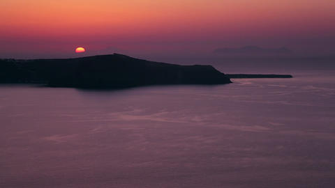 A beautiful sunset behind islands in the Greek Isl Footage