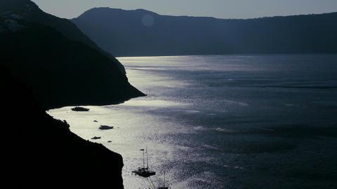 The darkened coast along the ocean Stock Video Footage