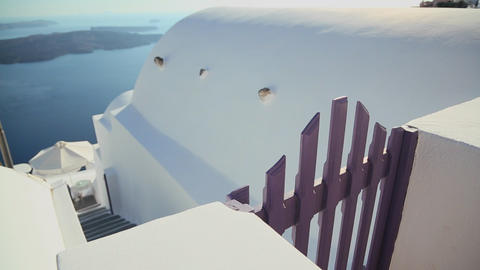 Beautiful whitewashed walls on the island of Santo Stock Video Footage