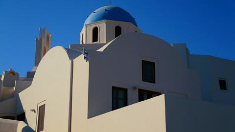 A Greek Orthodox Church with blue roof Footage