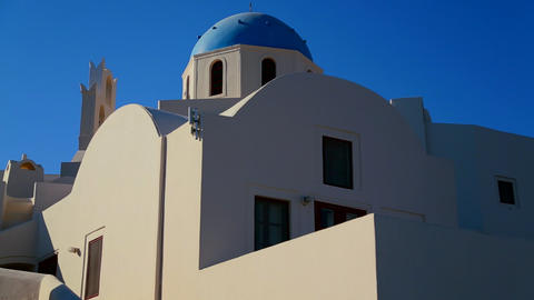 A Greek Orthodox Church with blue roof Stock Video Footage