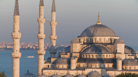 The Blue Mosque in Istanbul, Turkey at dusk Footage