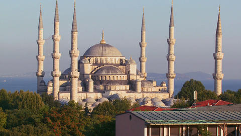 The Blue Mosque in Istanbul, Turkey at dusk Stock Video Footage