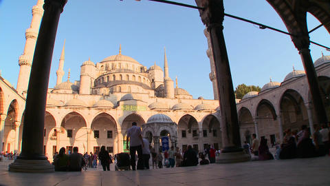 An interiorcourtyard view of the Blue Mosque In Is Stock Video Footage