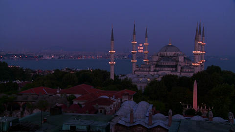 Nighttime at the Blue Mosque, Istanbul, Turkey Stock Video Footage