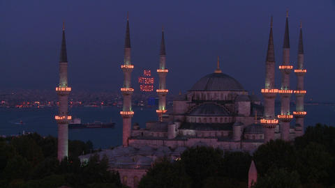 Nighttime at the Blue Mosque, Istanbul, Turkey Footage