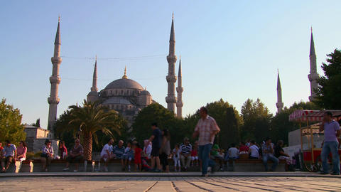 People walk in front of the mosques of Istanbul, T Footage