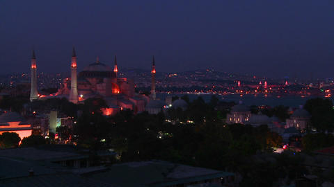 The Hagia Sophia Mosque in istanbul, Turkey at dus Footage