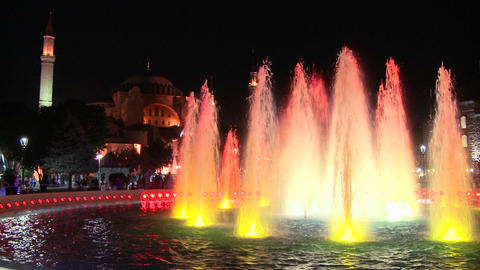 Colorful fountains in istanbul, Turkey at dusk or Stock Video Footage