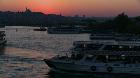 A beautiful shot of dusk behind a mosque in Istanb Stock Video Footage