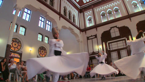 Whirling dervishes perform a mystical dance in Ist Stock Video Footage