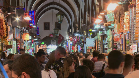 The crowded interior of the Grand Bazaar in istanb Footage
