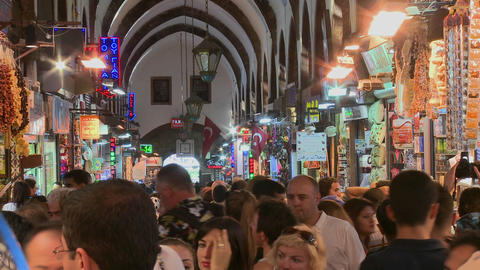 The crowded interior of the Grand Bazaar in istanb Stock Video Footage